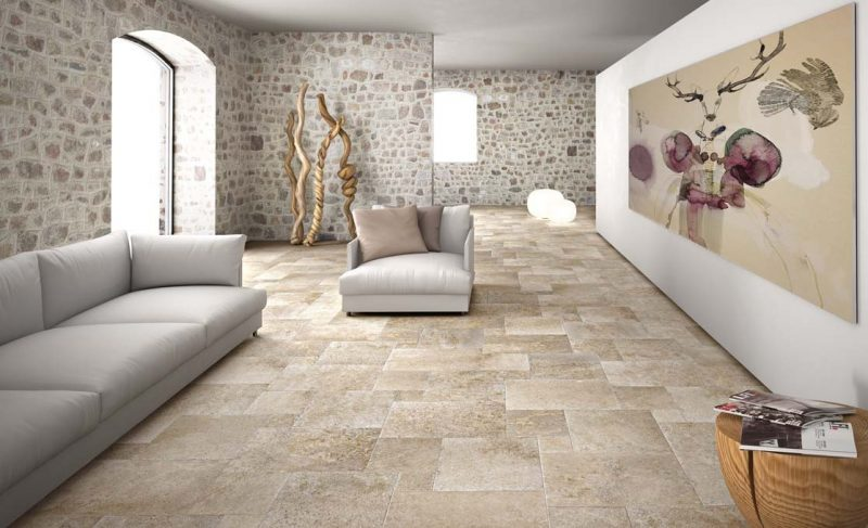 Living Room with Travertine Brick Pattern