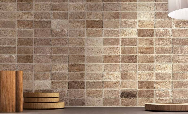 Stacked Brown Natural Stone Wall Tile