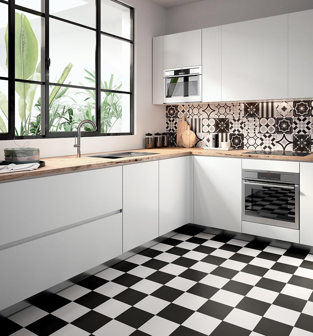 Patch Work Black & White Black Pattern Tile