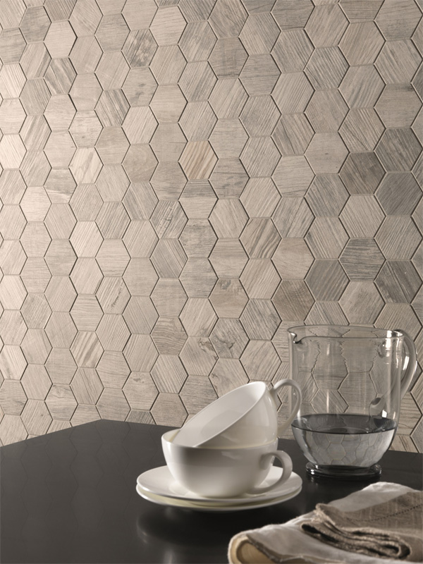 Oregon White Wood Hexagon Mosaic room Scene